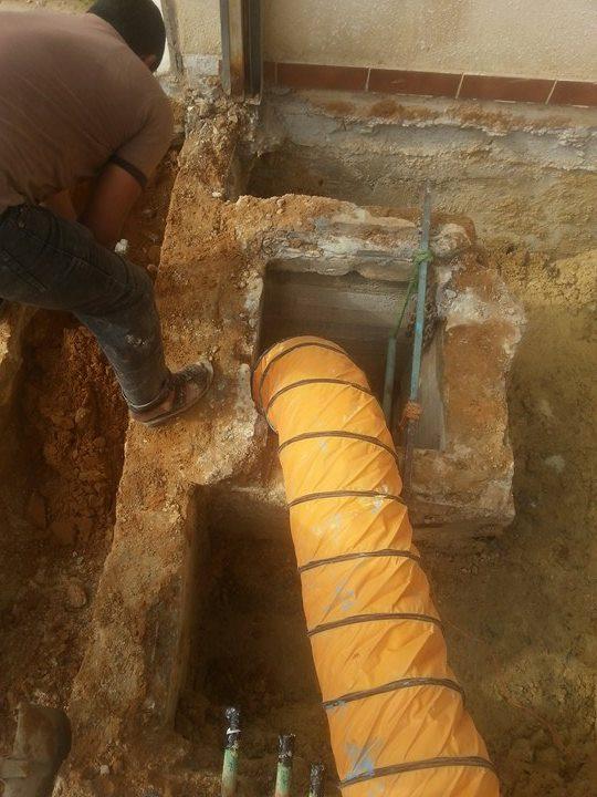 صورة الخزان قبل الاصلاح من التسربات الخزان