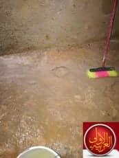 عملية تنظيف الخزان كل 6 شهور وقاية واصلاح لعدم تسربات المياه الخزان