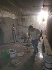 طريقة تلييس الخزان بعد الانتهاء من الصبه لكافة الجدران والسقف